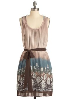 Borderline Perfect Dress - Mid-length, Tan, Multi, Floral, Tie Dye, Bows, Pleats, A-line, Sleeveless, Casual