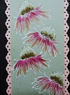 I love embossing and coloring on kraft paper. This is a new flowers set for me and I'm having fun with it. I stamped in versamark and covered with white embossing powder. Then heat set it. I colored with copics and added borders. Tim Holtz Flower Garden Cards, Flower Cards, Watercolor Cards, Watercolor Flowers, Card Making Inspiration, Making Ideas, Tim Holtz Stamps, Atc Cards, Copics