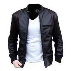 Men Leather Jacket, Men Biker Leather Jacket, Black Mens Jacket (515 BRL) ❤ liked on Polyvore featuring men's fashion, men's clothing, men's outerwear, men's jackets, mens real leather jackets, mens leather biker jacket, mens biker style jacket and mens jackets