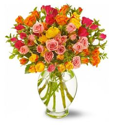 Order Teleflora's Starburst Splash A candy-colored bouquet of mixed roses in luscious shades of orange from The Orchid Florist, your local Waterbury florist. For fresh and fast flower delivery throughout Waterbury, CT area. Fast Flowers, List Of Flowers, Summer Flowers, Unusual Flowers, Amazing Flowers, Wedding Of The Year, Mothers Day Flowers, Spray Roses, Floral Arrangements