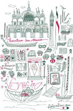Hola Mimi - Illustration & lettering  Venecia - Venice