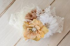 Little Girl Headband, Tan and Cream with Rhinestones, Feathers and lace, Vintage Inspired, Rustic