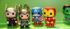 Pop! Marvel Bobble Head Vinyl Figures by Funko - Movie Thor, Movie Loki, Captain America, Iron Man & Hulk