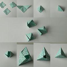 Origami Tuto du midi 3 carrés. .. 3 minutes et voici ma fox box ou pyramide modulaire Simple comme un jeu d'enfant...