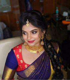 Wedding Saree Blouse Designs, Half Saree Designs, Saree Blouse Neck Designs, Fancy Blouse Designs, Saree Blouse Patterns, Thing 1, Indian, Jewellery, Makeup