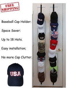 b652cc127b9 Baseball Cap Rack Organizer Hat Holder Closet Over The Door Hanger Wall  Storage
