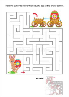 Maze game for kids with bunny and painted eggs. Easter maze game or activity pag , Free Easter Coloring Pages, Spring Coloring Pages, Easter Colouring, Coloring For Kids, Easter Games, Easter Activities, Easter Crafts For Kids, Spring Activities, Easter Puzzles