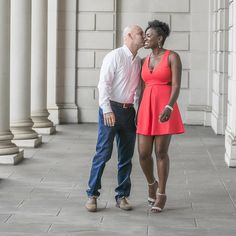 Gorgeous interracial couple engagement photography at the South Carolina State House ♡ Yvonne and Ray ♡ #love #wmbw #bwwm #swirl #wedding #lovingday