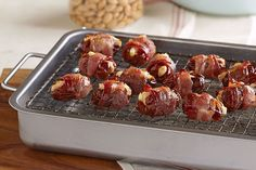 Some appetizers like to dress up for a night out, like these Bacon-Wrapped Feta & Almond-Stuffed Dates! Just stuff each date, wrap with bacon and bake!