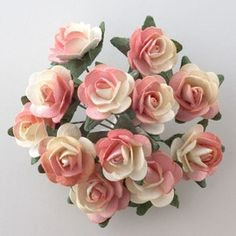 Coral/Cream Tea Rose Wedding Favour Decoration.