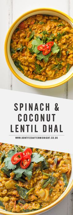 Spinach & coconut lentil dhal Alicia says -- a little too weird for Justin, and probably not a kid favorite Veg Recipes, Curry Recipes, Indian Food Recipes, Whole Food Recipes, Cooking Recipes, Healthy Recipes, Vegan Indian Food, Indian Vegetarian Recipes, Vegan Lentil Recipes