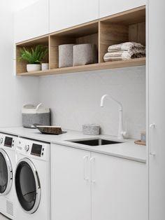 Hidden Laundry, Laundry Nook, Laundry Shelves, Modern Laundry Rooms, Laundry Storage, Laundry Room Organization, Laundry In Bathroom, Laundry Room Design, Kitchen Design