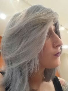 Titanium grey silver hair Silver Grey Hair, Cool Hairstyles, Long Hair Styles, Projects, Beauty, Log Projects, Fancy Hairstyles, Swag Hairstyles, Long Hair Hairdos