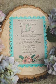 Rustic wedding invitations, barn wedding, wedding invitations, wedding ideas, turquoise and pink wedding