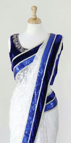 Blue and white saree