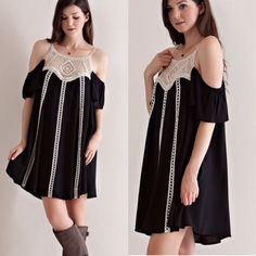 Cold Shoulder Black Dress S M L Beautiful cold shoulder black dress with crochet details. Sizes: Small, Medium, Large available. Please do not purchase this listing, leave a comment below and I will create a separate listing for you to purchase. Dresses