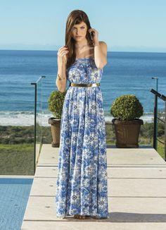 Vestido Longo com Estampa de Azulejo