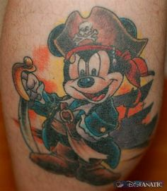 Top 9 Pirate Tattoo Designs With Meanings Pirate Mickey Tattoo, Pirate Girl Tattoos, Pirate Skull Tattoos, Pirate Ship Tattoos, Mickey Mouse Tattoos, Mickey Mouse Art, Disney Mickey, Disney Art, Disney Inspired Tattoos