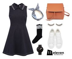 """Collar Denim Dress × Polka Dot Wire Headband"" by hielevencom ❤ liked on Polyvore featuring RED Valentino, Alexander McQueen, Rosendahl, shu uemura, women's clothing, women, female, woman, misses and juniors"