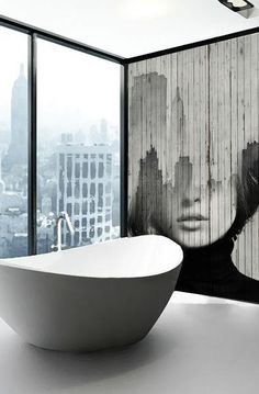 I love this wall which bridges the gap for me in my bathroom between Art Deco and the contemporary edge I desire; Decoration Inspiration, Bathroom Inspiration, Interior Inspiration, Style Inspiration, Interior Architecture, Interior And Exterior, Beautiful Bathrooms, Glamorous Bathroom, Wall Murals