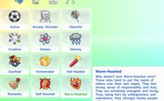 ♥ So I have recently made a new trait for everybody's sims, and as you can see, it is Warm-Hearted. Now, with this Trait, it drastically changes your Sims. Sims 4 Game Mods, Sims Games, Sims Mods, Sims 4 Cc Packs, Sims 4 Mm Cc, Sims Traits, Free Sims 4, Sims Challenge, Play Sims 4