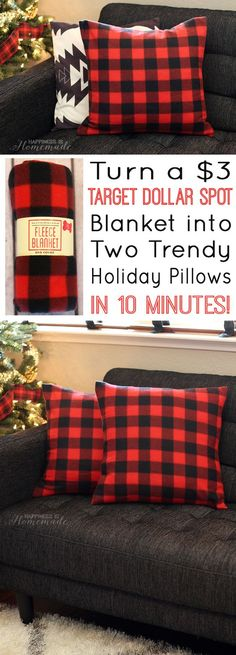 These awesome DIY buffalo check plaid holiday pillow covers are made from a $3 Target Dollar Spot blanket, and they only take 10 minutes to make! - Happiness is Homemade