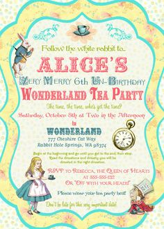 FREE: printable Alice In Wonderland invitation template | party ...