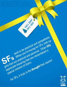 Do you know an ESFJ, ESFP, ISFP or ISFJ? Find the perfect gift for them by understanding what they value most! More at www.cpp.com/holiday13