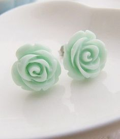 Lacey Note: Found almost the exact same thing at Kohls by Lauren Conrad. About (LB) Light Mint Green Rose Cabochon Ear Studs My Favorite Color, My Favorite Things, Light Mint Green, Rose Earrings, Green Earrings, Green Rose, Green Flowers, Mint Color, Cute Jewelry