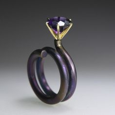 Round and Round Crowned Ring, 18K Yellow Gold, Anodized Titanium, Amethyst, ECNP Galeri, Ela Cindoruk & Nazan Pak