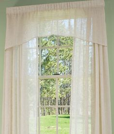 """Sheer Linen Crescent Valance - comes in """"toffee"""".  You could add custom trim to the bottom if this was too plain."""
