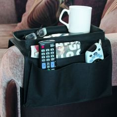 Arm Rest Organizer - quickly organizes and store's all your favorite TV and household accessories - 6 large pockets hold remote controls, eyeglasses, program.