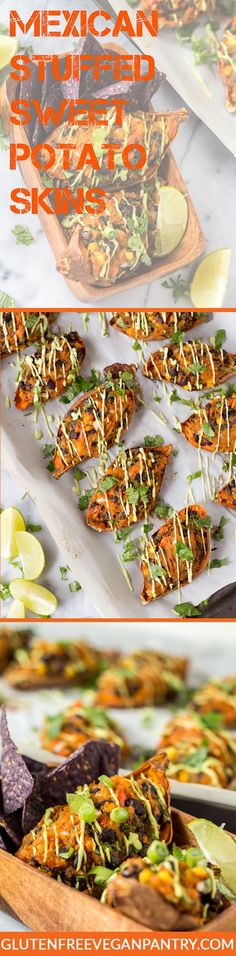 Mexican Stuffed Sweet Potato Skins - minus the lime juice Vegan Gluten Free, Gluten Free Recipes, Vegan Vegetarian, Vegetarian Recipes, Healthy Recipes, Healthy Options, Vegan Food, Delicious Recipes, Mexican Food Recipes