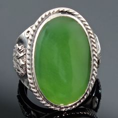 925 Sterling Silver Ring green Jade Unique Ottoman Handmade Men's Jewelry US10.5 #Handmade #Solitaire