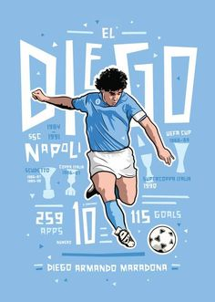 During his time at Napoli, Maradona reached the peak of his professional career. He quickly became an adored star among the club's fans, and in his time there he elevated the team to the most successful era in its history. Artwork by Kieran Carroll Design, available as a print via www.KieranCarrollDesign.com