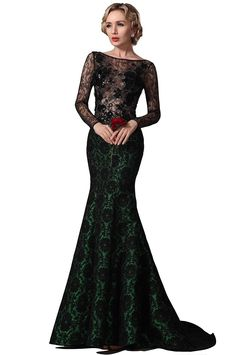 Sexy Lang Spitze Aermel Trumpet Abendkleid Ballkleid Formal Kleid Gr.32