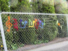 Music is Everywhere. Crochet, acrylic. Public art yarn bomb by nirvYARNah, 2014.