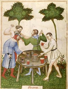 appears to be a medieval drunken brawl. Medieval applied botany and horticultural practices. Tacuinum Sanitatis (BNF Nouvelle Acquisition Latine c. Renaissance, Medieval Life, Medieval Art, Medieval Tower, Medieval Manuscript, Illuminated Manuscript, Medieval Furniture, High Middle Ages, Fantasy Monster