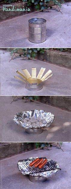 WOW - i don't know if i even will be able to use this, but the idea is great just in case - perfect camping grill! DIY Tin Can Grill Top 33 Most Creative Camping DIY Projects and Clever Ideas by Diy Camping, Camping Survival, Survival Skills, Camping Hacks, Camping Grill, Camping Gear, Portable Grill, Camping Stove, Camping Equipment