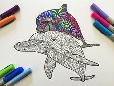 Dolphins PDF Zentangle Coloring Page por DJPenscript en Etsy