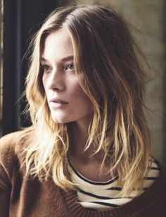 messy wavy hair, ombre
