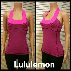 Lululemon Top Bright pink and purple striped racerback top. Built-in support bra.  Like new condition. lululemon athletica Tops Tank Tops