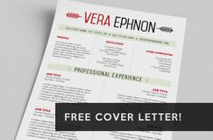 Resume  FREE Cover Letter  Word Template  The Vera by taupeisdope, $15.00