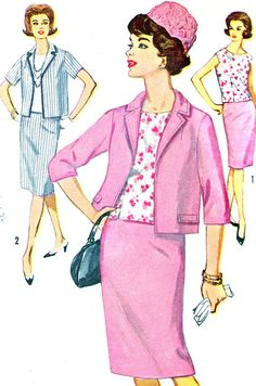 Vintage 1960s Simplicity 5320 womens suit and overblouse. Sleeveless blouse is dart fitted with scooped neckline, back button closing. Lined