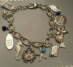 Brighton Seascape Charm Starfish Crab Seahorse Shell  Bracelet - NWT $98