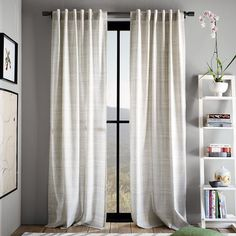New Cotton Canvas Printed Crosshatch Window Panel - modern - curtains - West Elm Canvas Curtains, Drop Cloth Curtains, Ikea Curtains, Long Curtains, Modern Curtains, Rustic Curtains, Bedroom Curtains, White Curtains, Patterned Curtains
