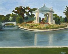 Forest Park Gazebo - oil painting - St. Louis, MO.  (c) Rose Hagan