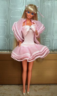Barbie - Perfume Pretty Barbie, 1987. This Barbie's dress could be made long or short and had her own perfume :)