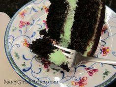 Eating a piece of Chocolate Mint Cake  http://www.saucygirlskitchen.com/2013/01/17/chocolate-mint-cake/