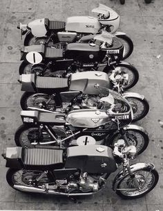 Line up of vintage motorcycles.